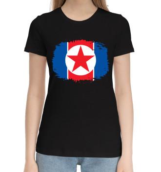 Женская Хлопковая футболка Флаг Северной Кореи