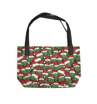 Пляжная сумка Новогодние лягушки