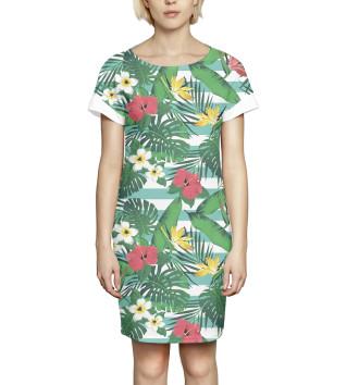 Женское Платье летнее Цветы и листья