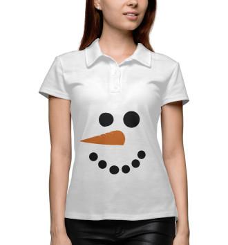 Женское Поло Снеговик минимализм