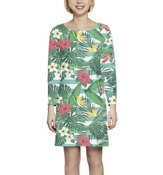 Женское Платье с рукавом Цветы и листья