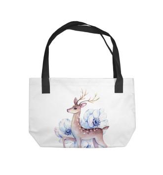 Пляжная сумка Deer and flowers