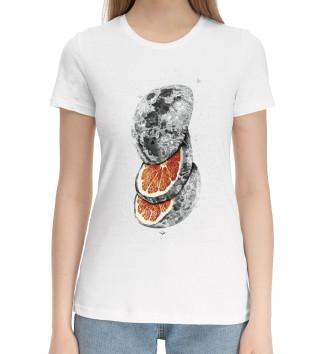 Женская Хлопковая футболка Апельсиновая Луна