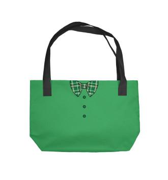 Пляжная сумка Зеленый галстук бабочка в клетку