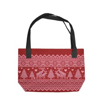 Пляжная сумка лесные танцы (красный)