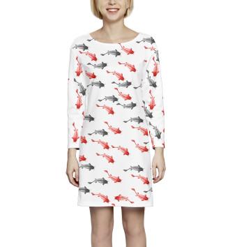 Женское Платье с рукавом Рыба