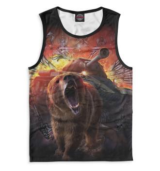 Мужская Майка Медведь и танк