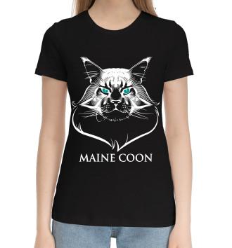 Женская Хлопковая футболка Мейн-куны