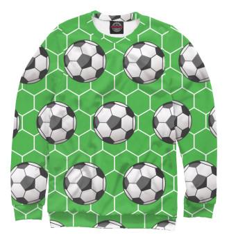Женский Свитшот Футбольные мячи на зеленом фоне