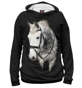 Женское Худи Серый в яблоках конь