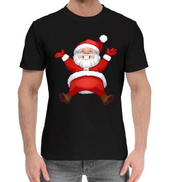 Мужская Хлопковая футболка Санта в золоте