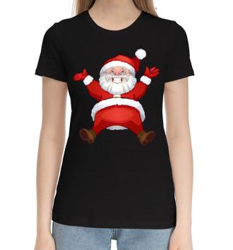 Женская Хлопковая футболка Санта в золоте