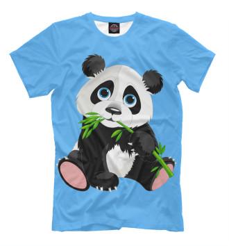 Мужская Футболка Панда и бамбук