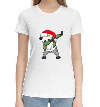 Женская Хлопковая футболка DAB панда дед мороз