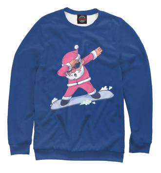 Мужской Свитшот Дед Мороз на Сноуборде