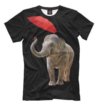 Мужская Футболка Слон с зонтом