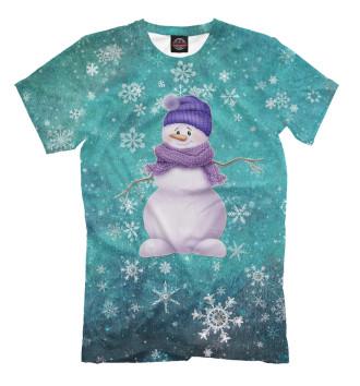 Мужская Футболка Снеговик в шарфе