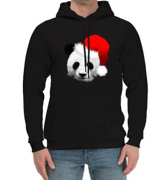 Мужской Хлопковый худи Новогодний Панда