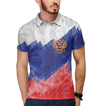 Мужское Поло Флаг России динамичный