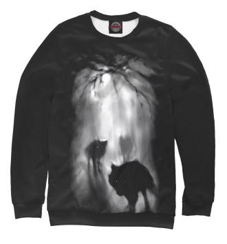 Свитшот для девочек Волки ночью в лесу