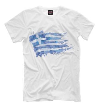 Мужская Футболка Греческий флаг Splash