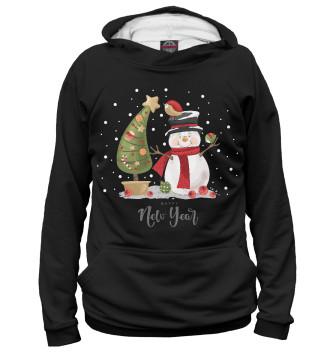 Женское Худи Веселый снеговик с елкой