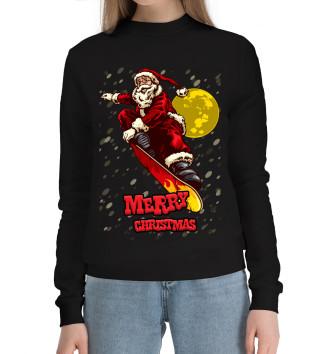 Женский Хлопковый свитшот Santa Claus on a snowboard