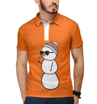 Мужское Поло Крутой снеговик