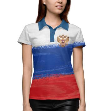 Женское Поло Флаг России с гербом