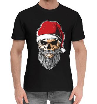 Мужская Хлопковая футболка Череп Санты