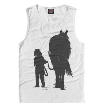 Мужская Майка Девочка и лошадь