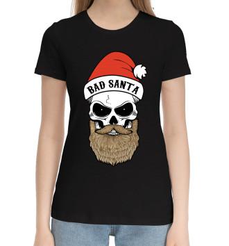 Женская Хлопковая футболка Bad Santa