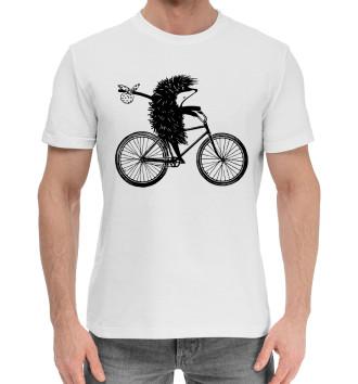 Мужская Хлопковая футболка Ежик на велосипеде
