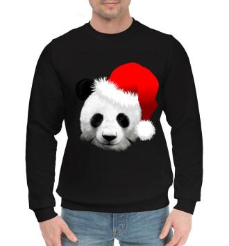 Мужской Хлопковый свитшот Новогодний Панда