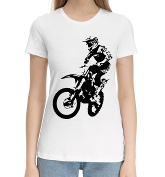 Женская Хлопковая футболка байкер