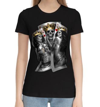 Женская Хлопковая футболка Череп-джокер