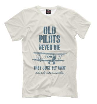 Мужская Футболка Старые пилоты не умирают