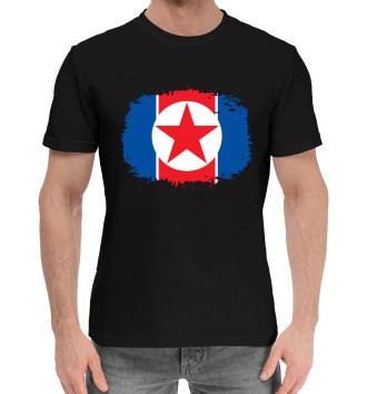 Мужская Хлопковая футболка Флаг Северной Кореи