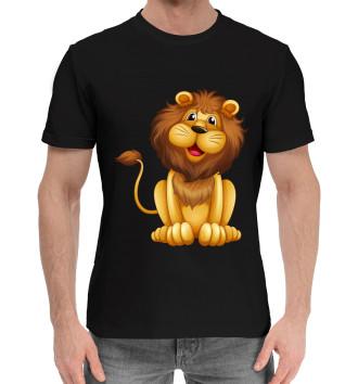 Мужская Хлопковая футболка Львенок