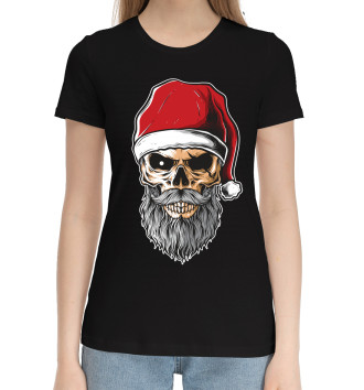 Женская Хлопковая футболка Череп Санты