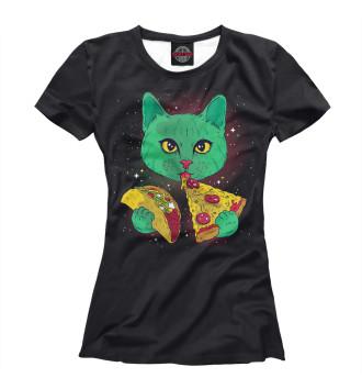 Женская Футболка Cosmic pizza cat