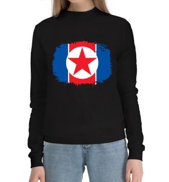 Женский Хлопковый свитшот Флаг Северной Кореи