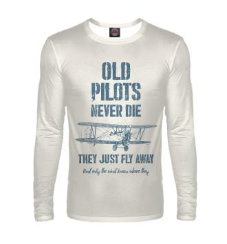 Мужской Лонгслив Старые пилоты не умирают