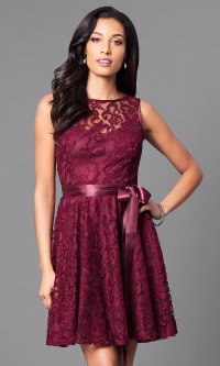 Sleeveless Cheap Short Lace Party Dress - PromGirl