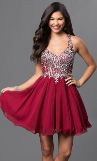 Short A-Line, Beaded Bodice Prom Dress - PromGirl