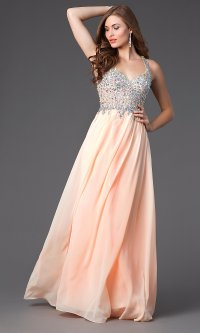 Long Pastel Jewel Embellished Prom Dress