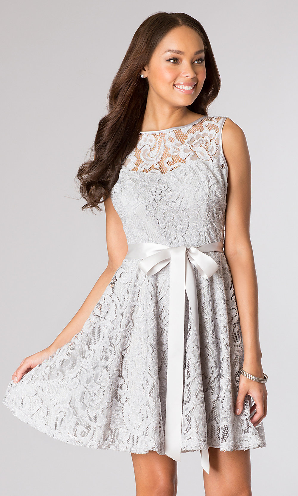 Short Silver Lace Party Dress with Belt  PromGirl