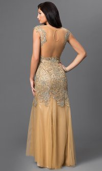 Gold Beaded Open Back Long Prom Dress-PromGirl