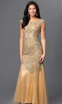 Gold Beaded Open Back Long Prom Dress