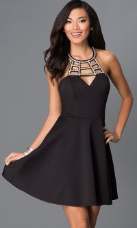 Little Black Dress Cut Out Neckline- PromGirl